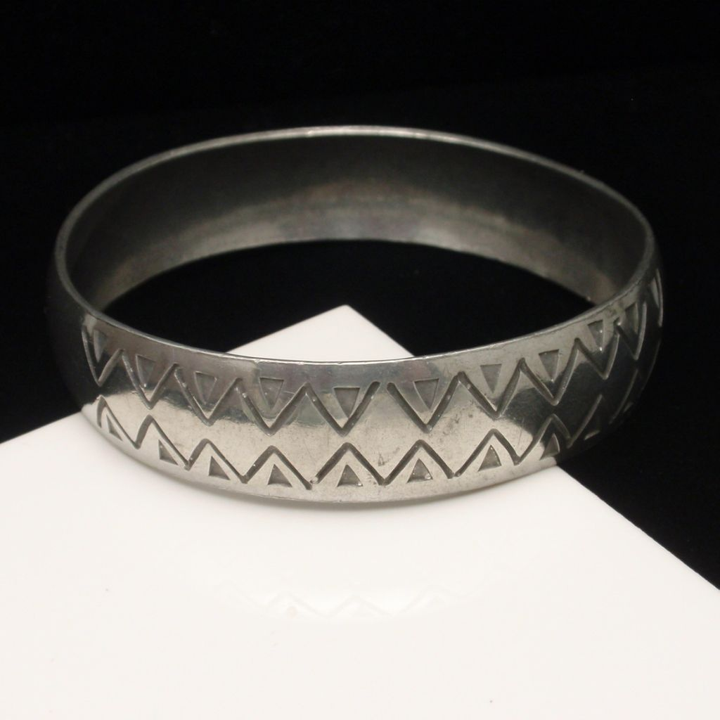 Jyde-Kunst Bangle Bracelet 1960s Vintage Denmark Pewter Zigzag Design