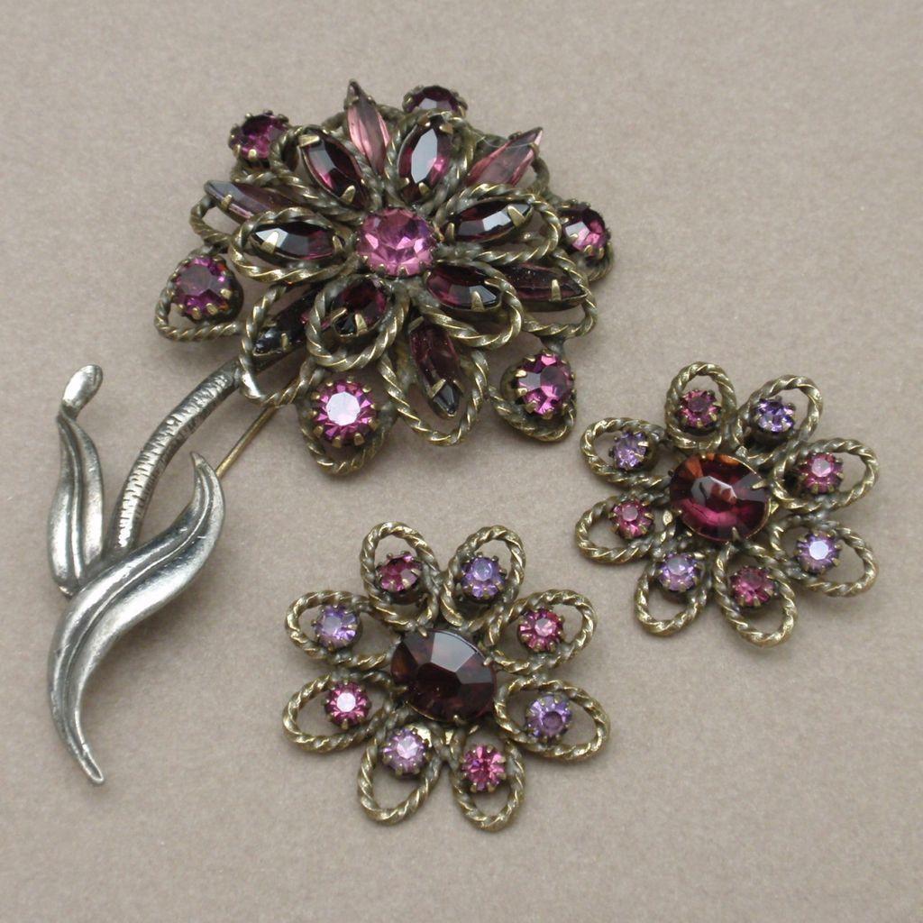 Purple Rhinestone Flower Brooch Pin & Earrings Set Vintage Weiss