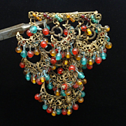 Overlapping Beaded Crescents Brooch Pin Vintage Ethnic
