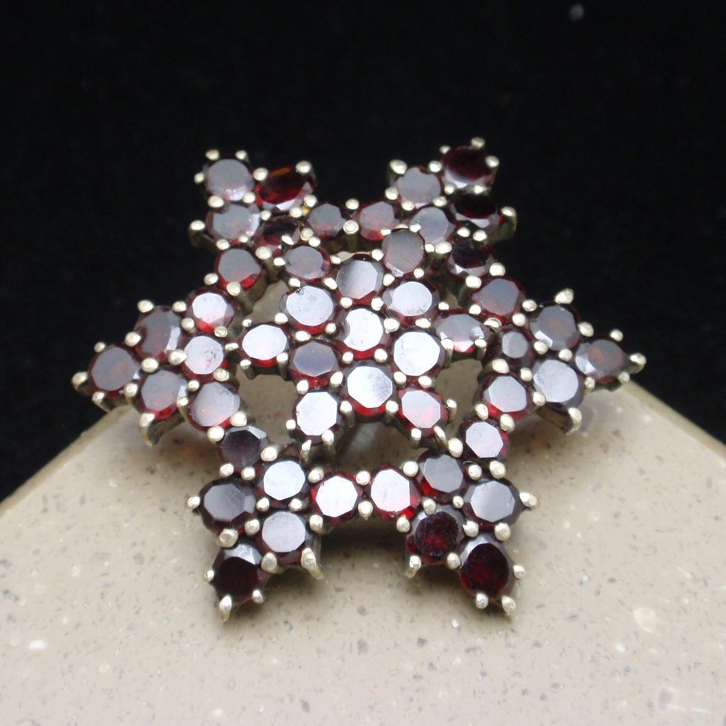 6-Pointed Star Beauty Pin Victorian Bohemian Garnets