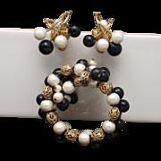 Hobe Set Bracelet Earrings Rhinestones Imitation Pearl Vintage