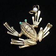 Frog Pin Vintage Sterling Silver Vermeil Wells Brooch Figural