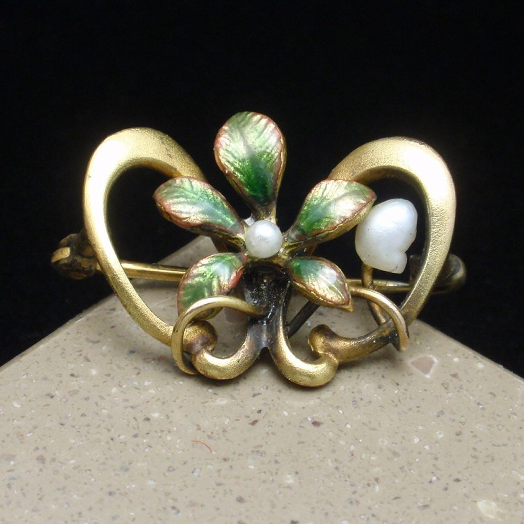 Victorian Pin Vintage Enamel Freshwater and Seed Pearl Lingerie Beauty
