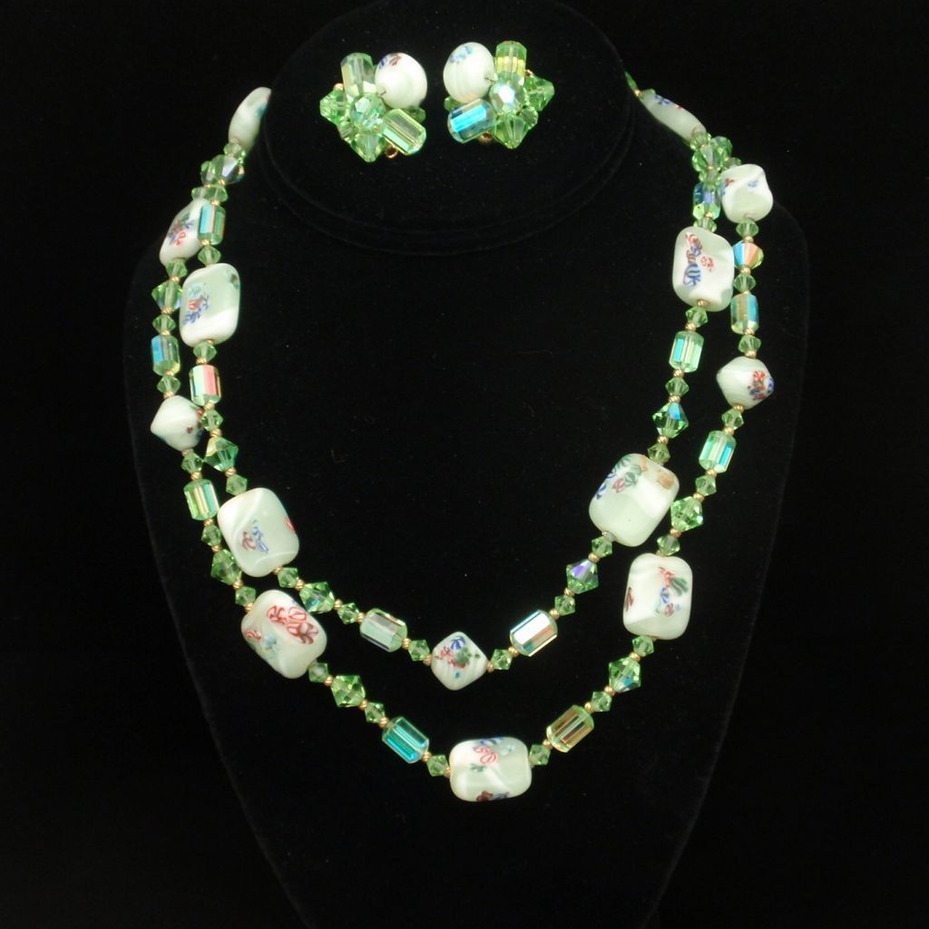 Millefiori Lampwork Beads & Green Crystals Necklace & Earrings Set Vintage