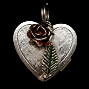 Heart Locket Charm Enamel Rose Opens to Message Vintage Sterling Silver