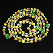 "4-Color Art Glass Necklace 52"" Long Vintage"