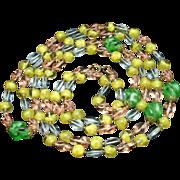 """4-Color Art Glass Necklace 52"""" Long Vintage"""