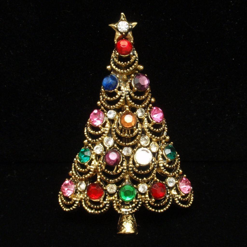 Christmas Tree Pin Vintage Rhinestones Hollycraft Brooch Xmas