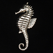 Seahorse Brooch Pin Sterling Silver Vintage Lang