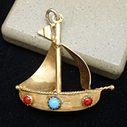 Jeweled Sailboat Pendant or Large Charm Vintage 14k Yellow Gold Coral Turquoise