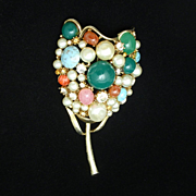 Flower Brooch Pin Vintage Colorful Rhinestones & Gemstones Large Fabulous