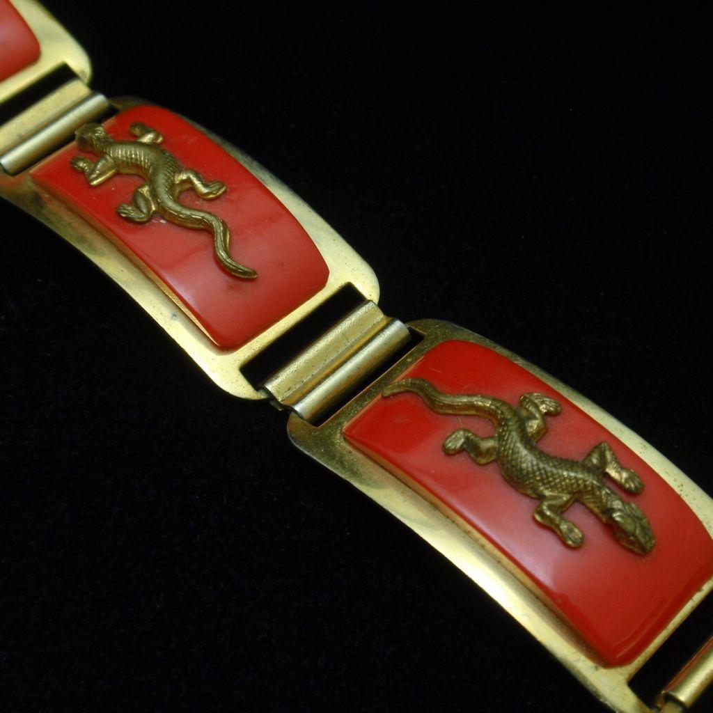 Lizard Salamander Bracelet Art Deco Red Galalith & Brass Vintage
