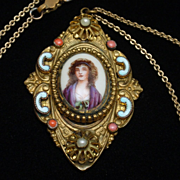 Portrait Pendant Necklace Enamel Hand-Painted Vintage