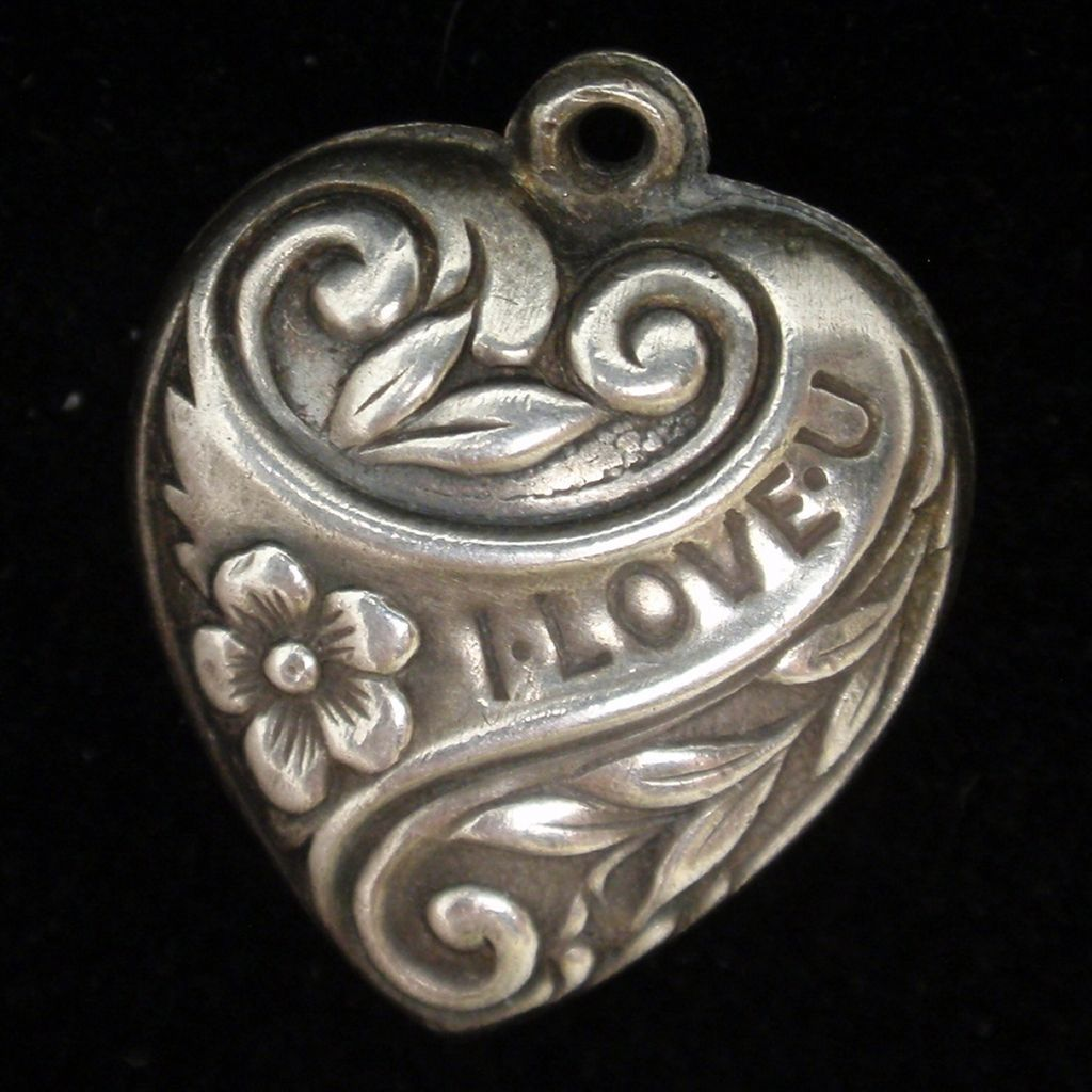 Puffy Heart Charm Vintage Sterling Silver I LOVE U