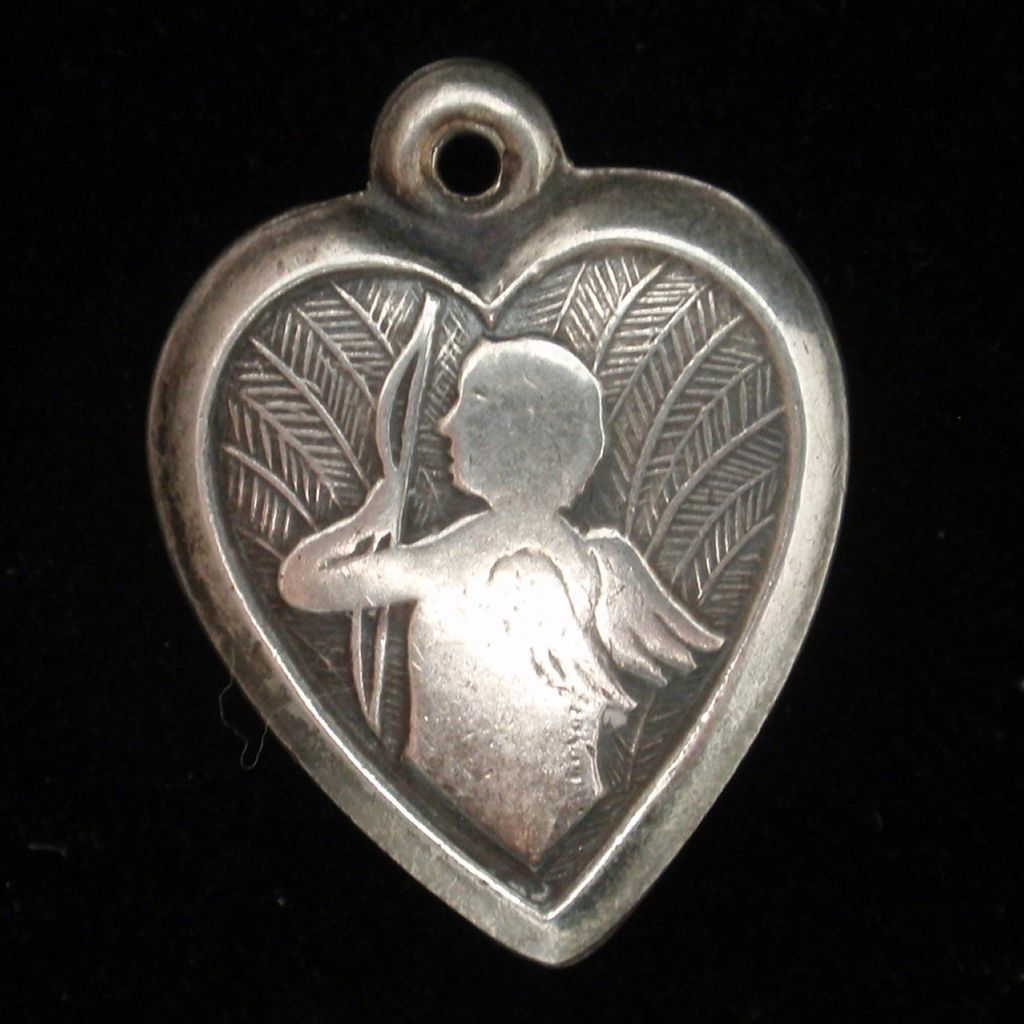 Puffy Heart Charm Vintage Sterling Silver Cupid