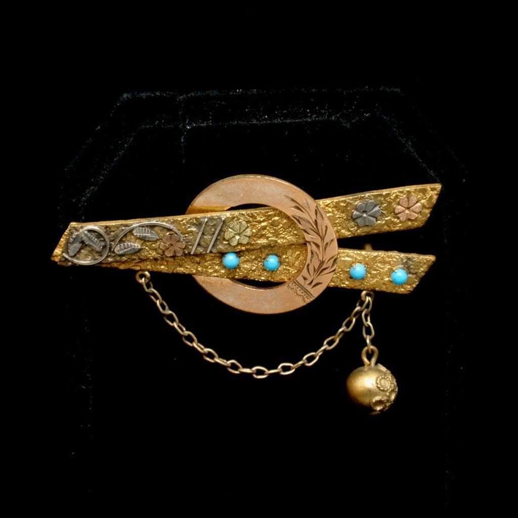 Unusual Pin Victorian Mixed Metals Turquoise & Dangling Ball
