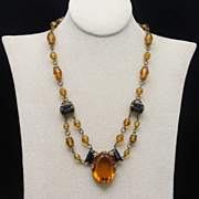 Topaz & Black Glass Stone Necklace Vintage