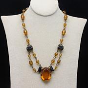 Topaz & Black Glass Stone Necklace Vintage