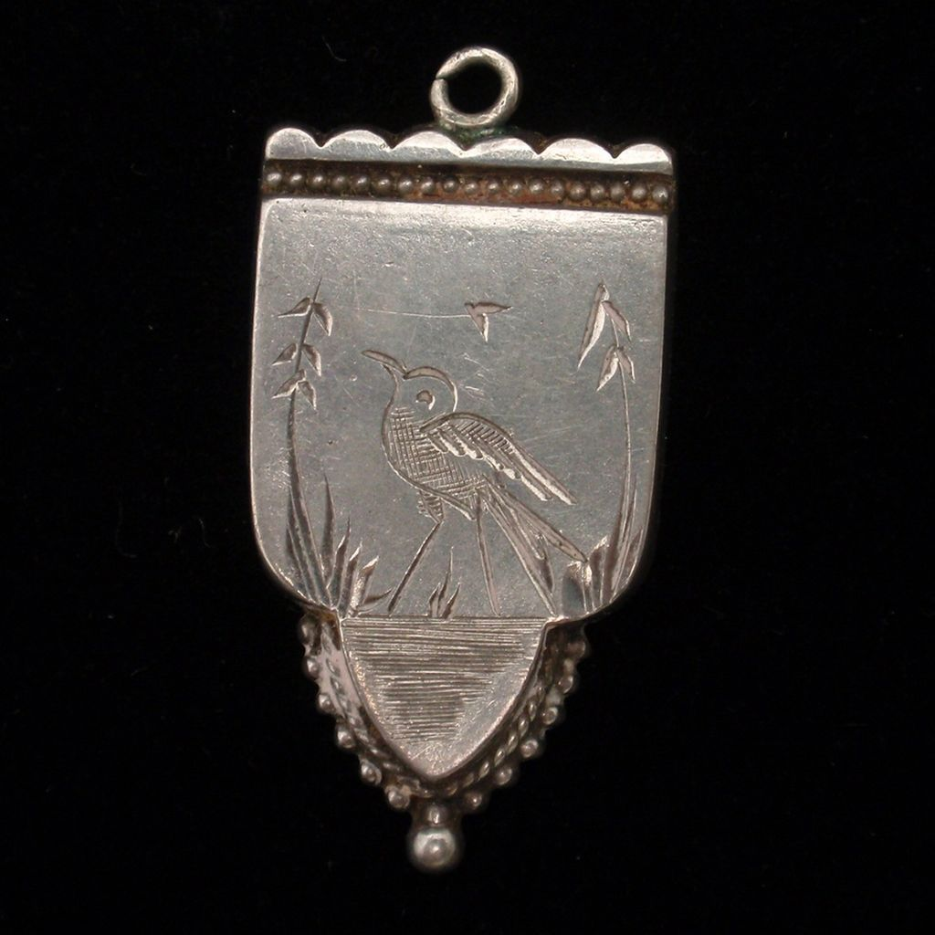 Sterling Silver Fob Charm Hand-Engraved Bird English Hallmarks