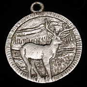 Stag Deer Charm Vintage Sterling Silver 100 Mile House Canada