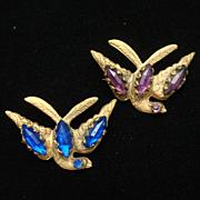 2 Bird Pins Rhinestones Vintage Scatter Pin Size