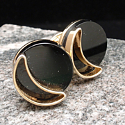 Retro Gold Tone and Black Glass Cuff Links