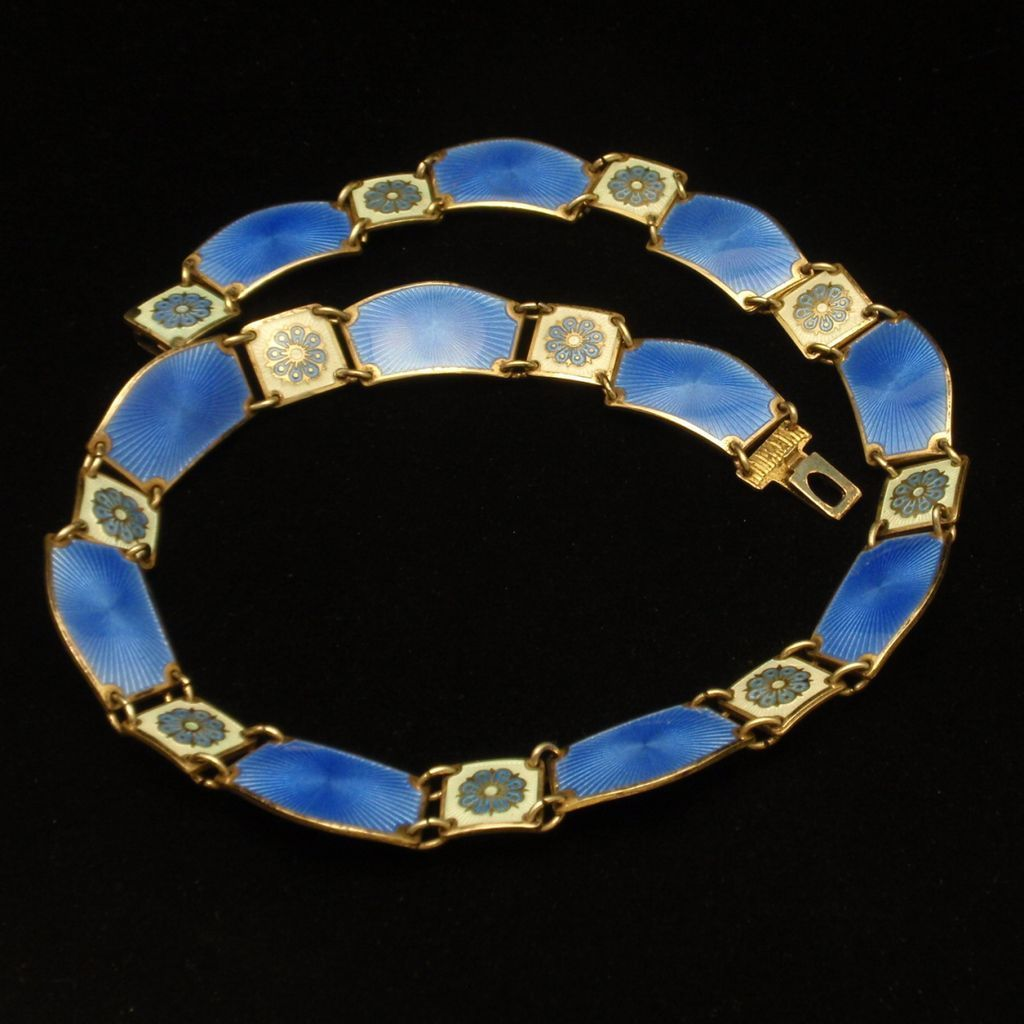 Sterling Silver Enamel Mid-Century Necklace