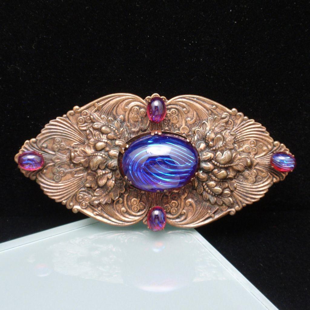 Sash Pin Ornate Foliate Design Dragon's Breath Stones Vintage