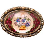 Flower Basket Pin Vintage Goofus Glass Reverse Intaglio Brooch