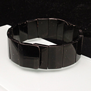 Jet Segment Bracelet Restrung on Elastic Wire