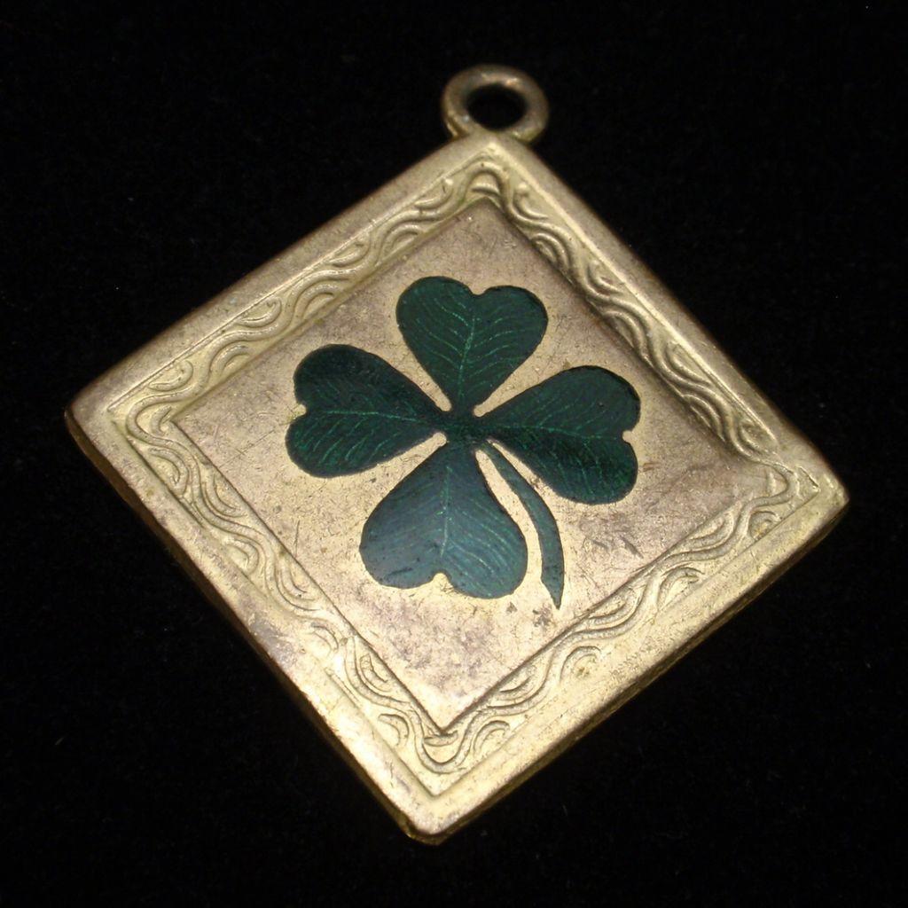 4-Leaf Clover Charm Enamel Gold Filled Vintage