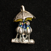 Lovebirds Lovers Under Umbrella Charm Sterling Silver Enamel Vintage Moves