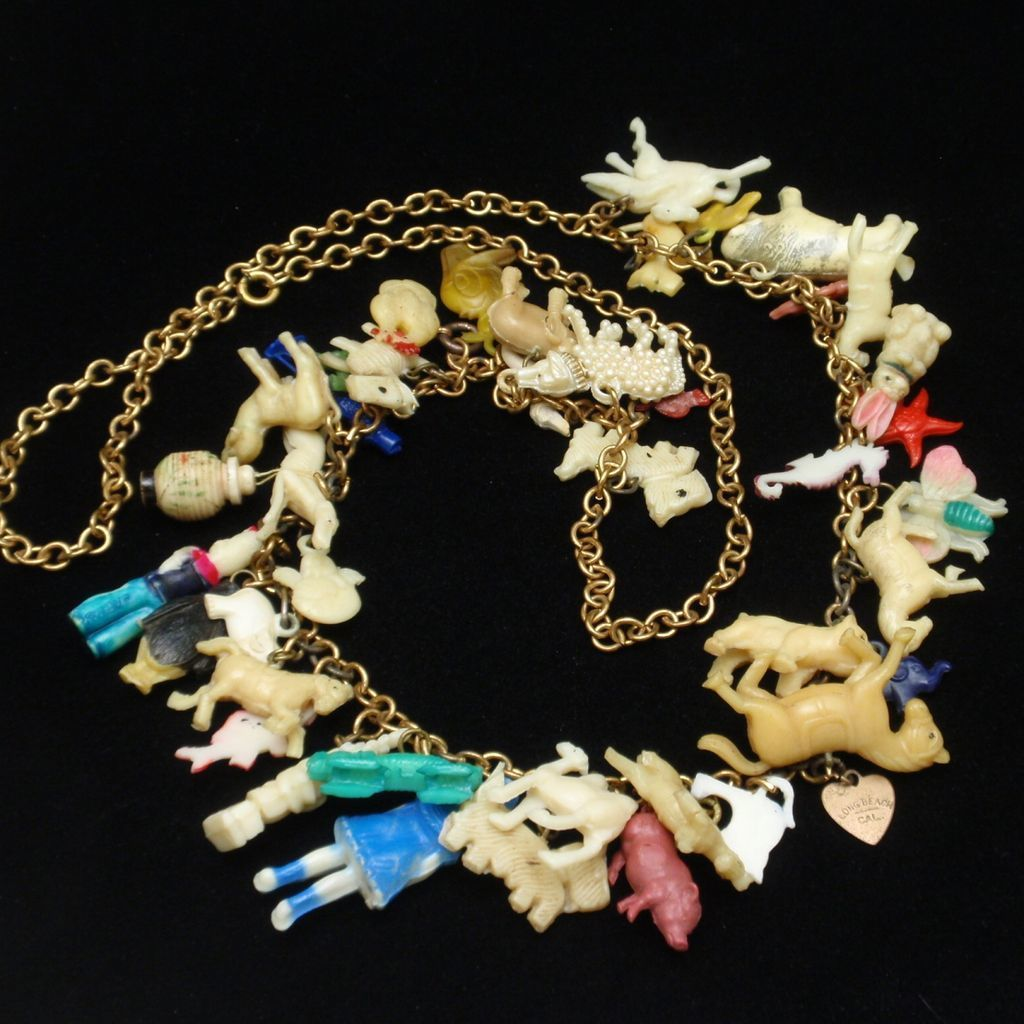 Charm Necklace with 40 Vintage Plastic Gumball Charms