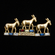 FDR Three Donkeys Rhinestones Democrat Political Pin Vintage