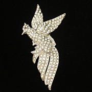 "Bird in Flight Brooch Pin Vintage Rhinestones Pot Metal Large 4"" x 2"""