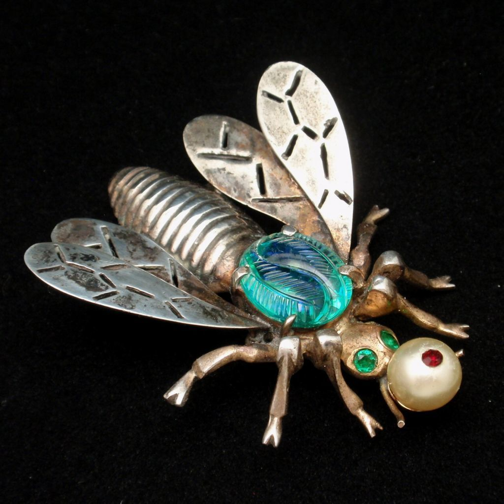Insect Brooch Pin Ciner Sterling Silver Art Glass Body Vintage