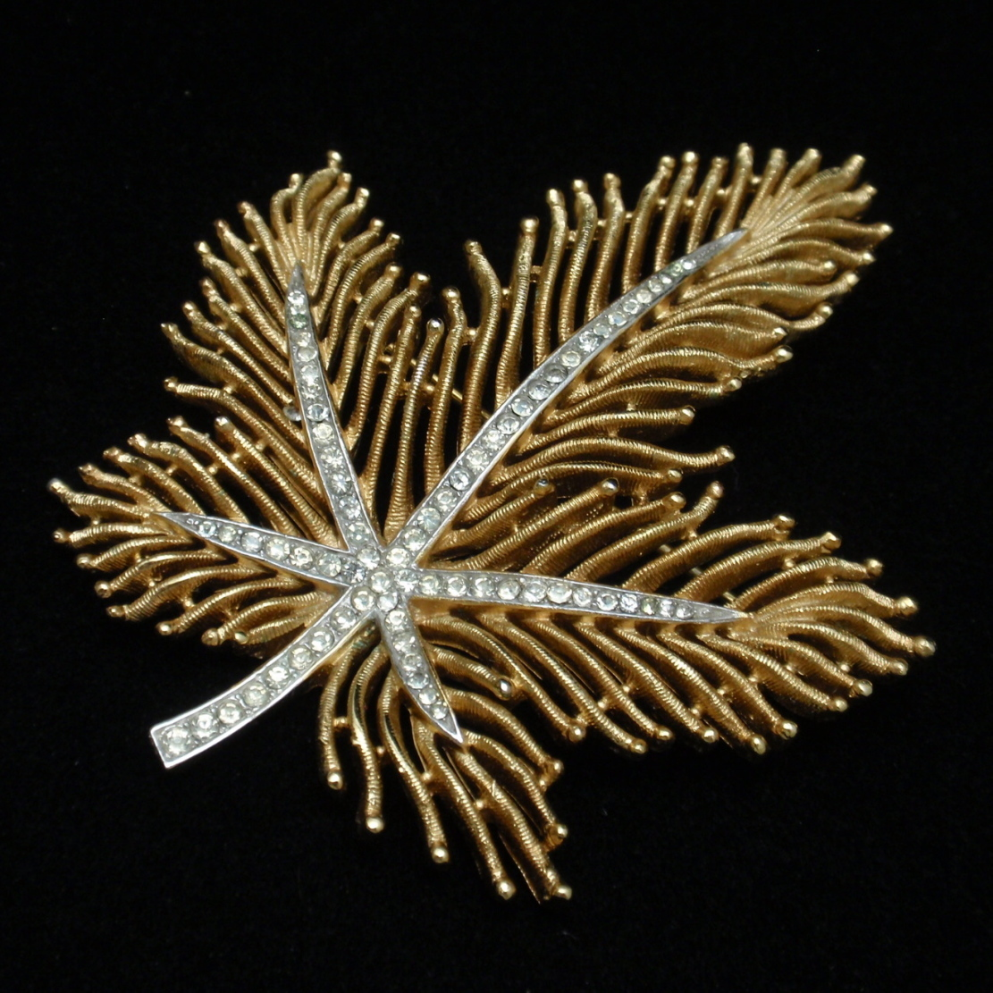 Trifari Gold Tone Leaf Pin with Clear Rhinestone Accents