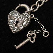 Walter Lampl Heart Padlock Key and Curb Link Charm Bracelet Vintage Sterling Silver