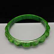 Green Bakelite Bangle Bracelet Vintage
