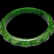 Green Bakelite Bangle Bracelet Vintage