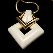 Trifari Retro Pendant Necklace Cream Tone Pendant Gold Tone Metal