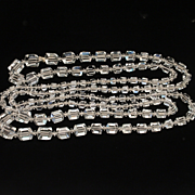 "Long Square Cut Crystal Necklace 60"" Graduating Sizes"