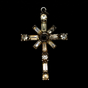 Sterling Silver and Rhinestones Cross Lord's Prayer in Stanhope Viewer