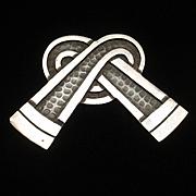 Margot de Taxco Sterling Silver Brooch Pin Vintage Bow Knot Pretzel Twisted Shape