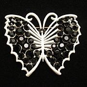 Butterfly Brooch Pin Graphic Black & White Vintage Enamel Rhinestones