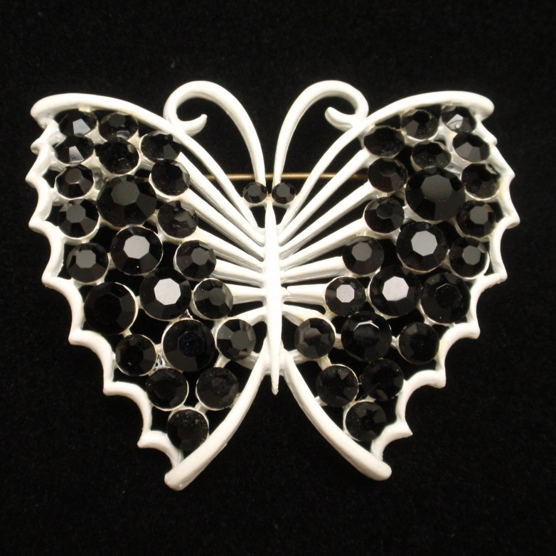 Butterfly Brooch Pin Graphic Black & White Vintage Enamel Rhinestones