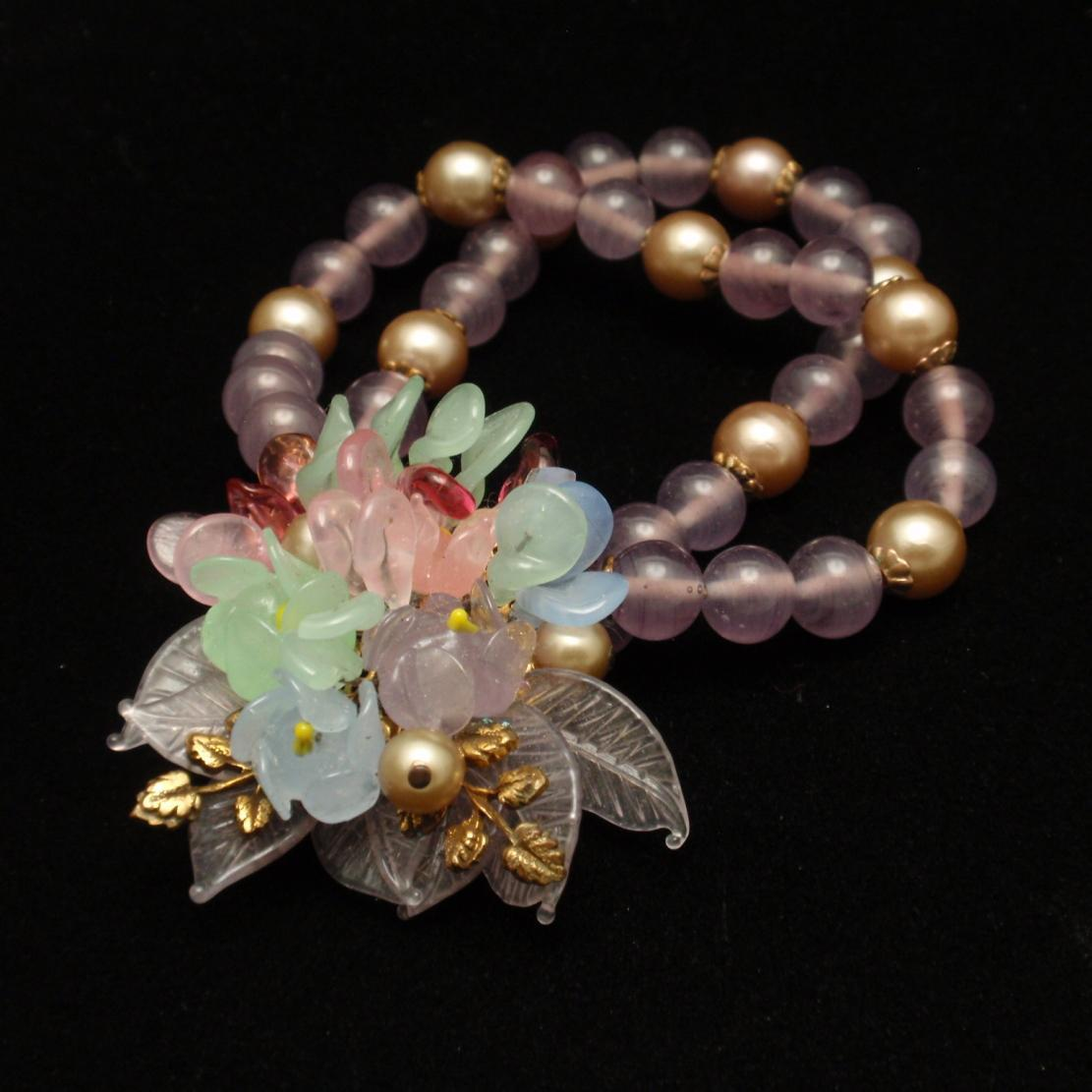 Double Strand Glass Bead and Flower Bracelet Vintage