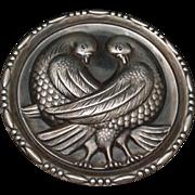 Lovebirds Pin Round Sterling Silver Vintage Love Birds