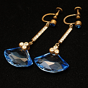 Vintage Earrings Faceted Blue Glass and Rhinestones