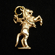 Bucking Bronco Cowboy Horse Rider Charm 14k Gold Mechanical Moves Vintage